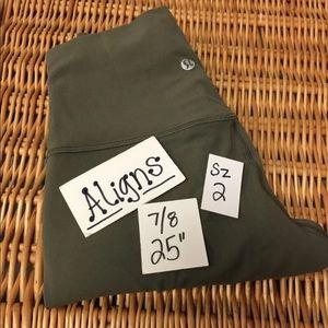 Lululemon Align green 7/8 Sz 2